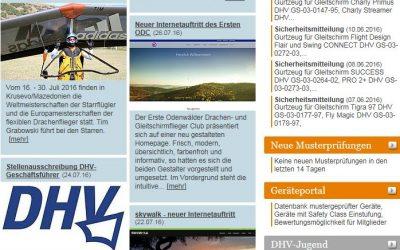 Homepage auf der DHV News Seite