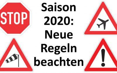 Saison 2020: Neue Regeln beachten!